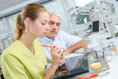 assisting: Dental assistant Stock Photo