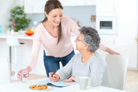 Betreuer helfen Frau zu Hause Lizenzfreie Bilder