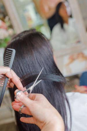 Brunette at the hair salon Stock Photo