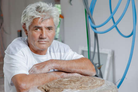 2x4 wood: Insulating the walls Stock Photo