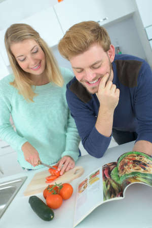 recipes: Couple following recipe from a magazine