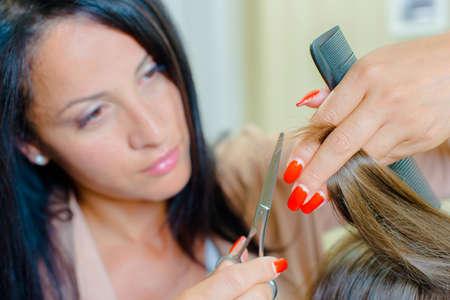 hair dresser: Woman having her hair cut Stock Photo
