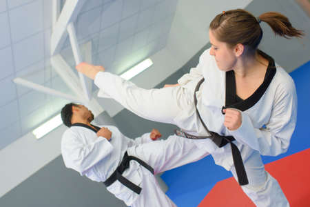 Action shot of martial art match Stock Photo