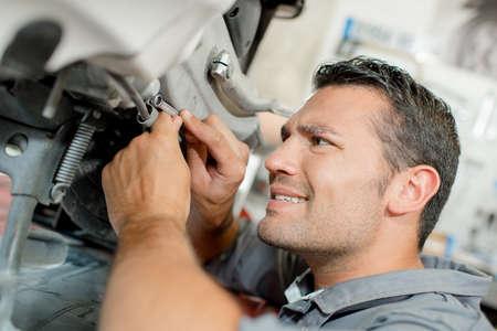 experienced operator: Mechanic at work Stock Photo