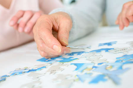 livingroom: Old lady doing a jigsaw puzzle