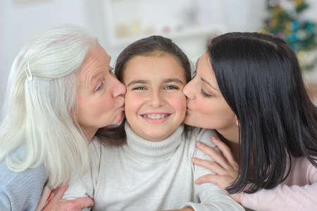 multi generational: Happy family at home Stock Photo