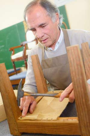 old furniture: Furniture repair workshop Stock Photo