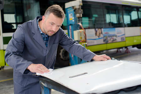 disassemble: bus maintenance Stock Photo