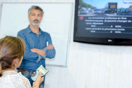 trainer device: theory driving class Stock Photo