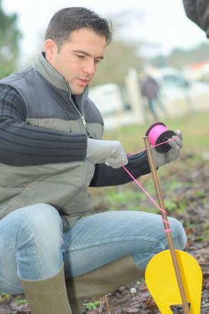 distinguishing: Man tying string around marker in the ground