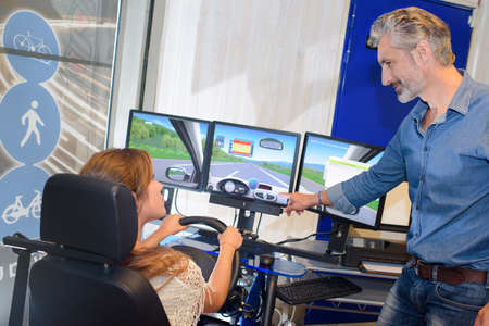 simulator: driving simulator Stock Photo
