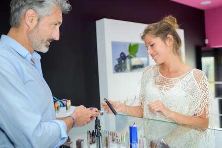 flavours: woman and e-cigarette Stock Photo