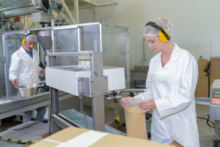 operative: Two people working on factory production line