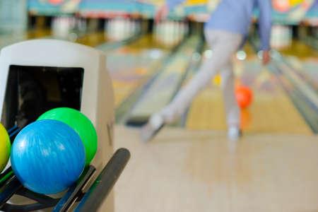 machinery machine: bowling balls Stock Photo