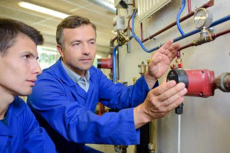 apprentice: plumbing apprentice Stock Photo