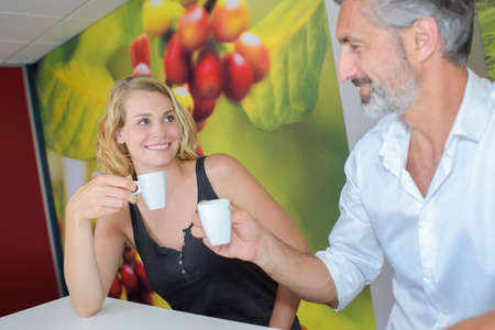 blonde females: cup of coffee Stock Photo