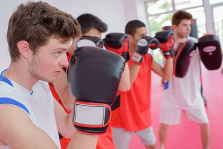 competitive sport: Boys in a boxing class Stock Photo