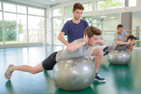 fitness trainer: practice in the gym