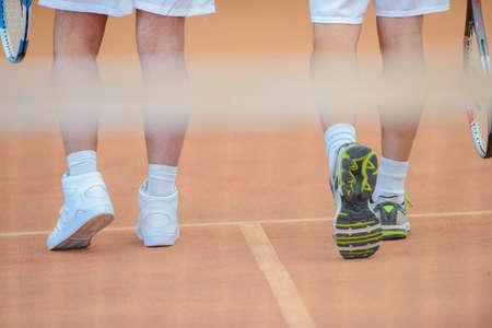 net meeting: tennis players Stock Photo
