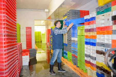 rearrange: many plastic crates
