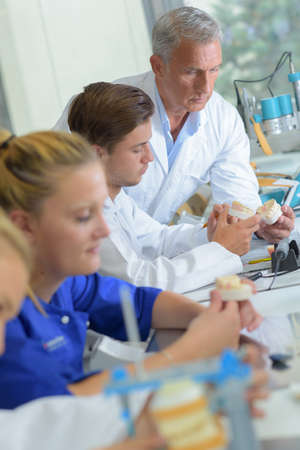 medical career: Technicians working in dental laboratory Stock Photo