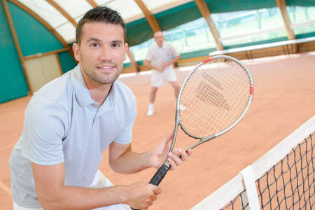 serf: excited tennis player Stock Photo