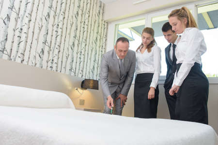hotel staff: Hotel staff undergoing training