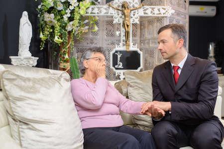 sympathy: funeral director showing sympathy