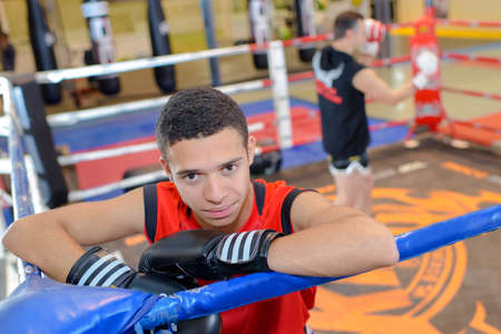 sportsmanship: young boxer in the ring
