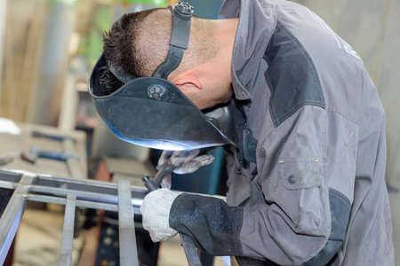 blowtorch: focused welder Stock Photo