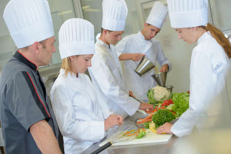chefs whites: Students on a cookery course