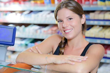 saleslady: woman in the shop