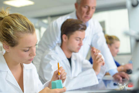 trainees: Trainees working in a dentists laboratory