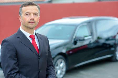 hearse: limousine and hearse driver Stock Photo
