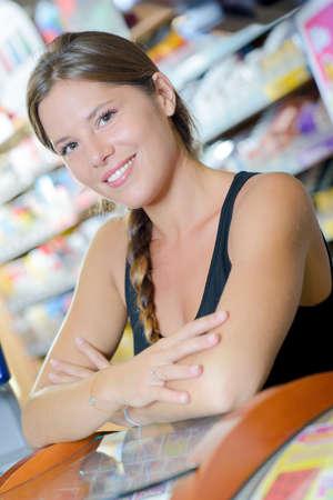 merchandiser: woman in the counter