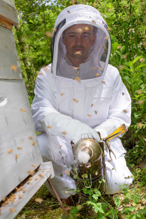 bee hive: Man next to bee hive