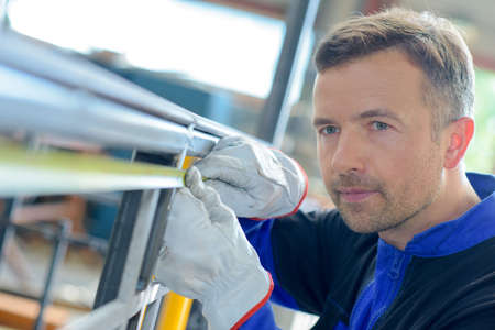 standard steel: man with gloves Stock Photo