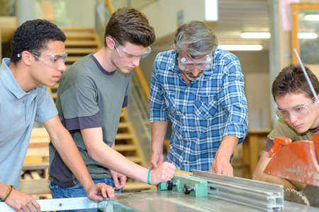 safety googles: students in the workshop