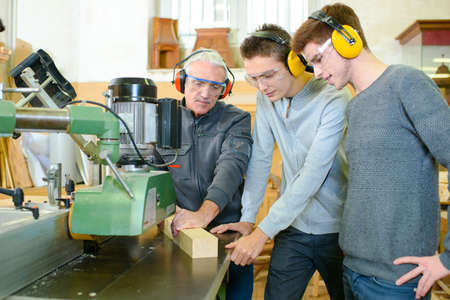 anti noise: Teaching carpentry Stock Photo
