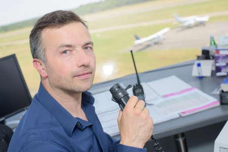 air traffic: air traffic controller Stock Photo