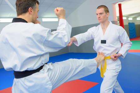 dojo: Fighting in a dojo Stock Photo