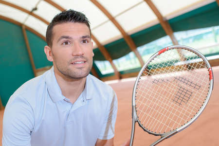 sportsmanship: excited tennis player Stock Photo