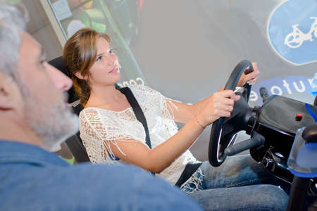 simulator: trying the drive simulator Stock Photo
