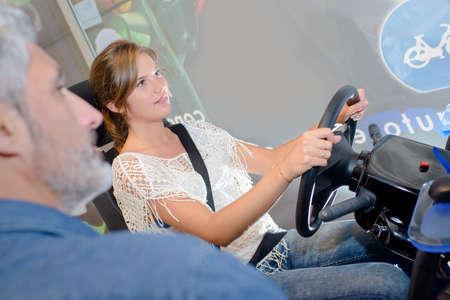 simulator: trying the drive simulator Stock Photo