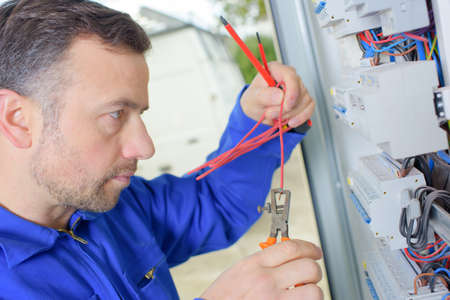 electrical equipment: Working on a fusebox