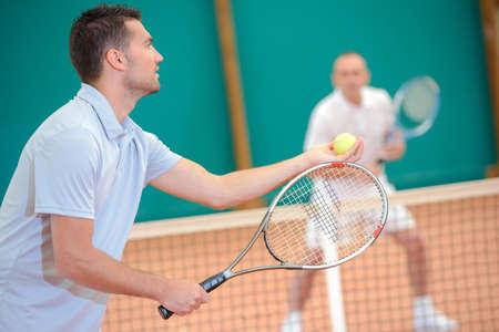 serf: tennis playing Stock Photo