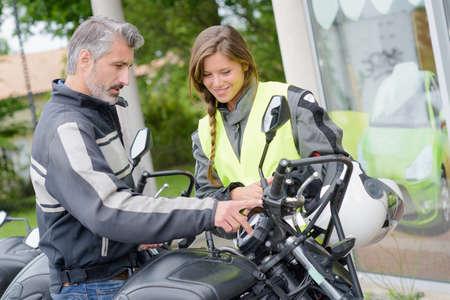 lessons: girl taking motorbike lessons
