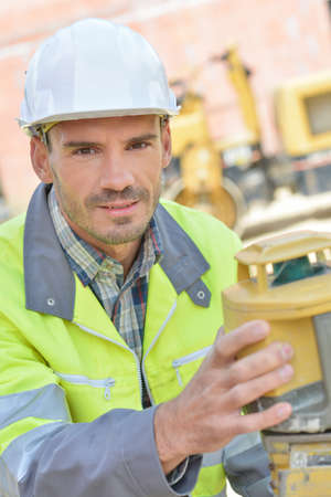 public works: worker on site Stock Photo