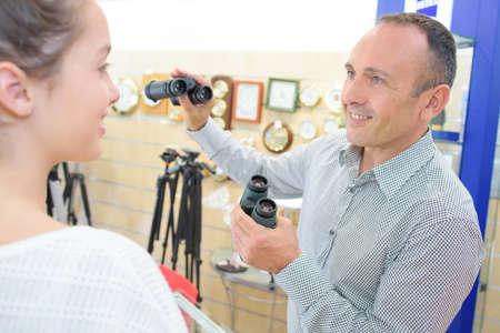 tiny: tiny binoculars Stock Photo