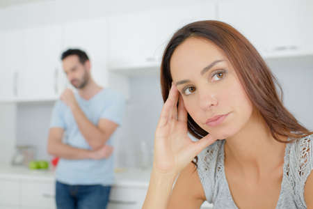 sulk: Couple right after an argument Stock Photo